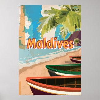 Maldives Vintage travel poster