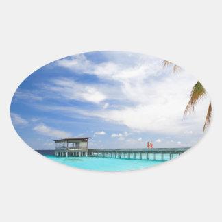 Maldivian escape oval sticker
