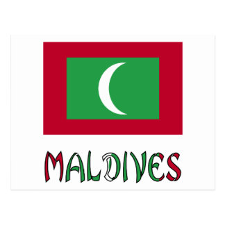 Maldivian Flag and Maldives Postcard