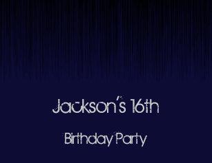 Male 16th Birthday Party Black Dark Blue Grunge Invitation