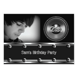 Male 21st birthday invitations zazzle male 21st birthday party black metal look image invitation filmwisefo