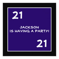 Male 21st Birthday Party Simple Dark Blue Invitations