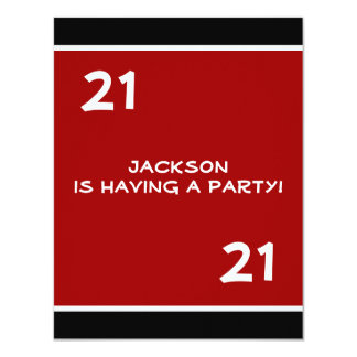 Male 21st Birthday Party Simple Red Card