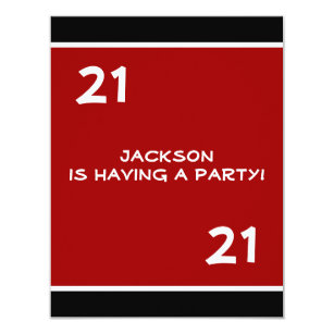 Guys 21st birthday invitations zazzle male 21st birthday party simple red invitation filmwisefo
