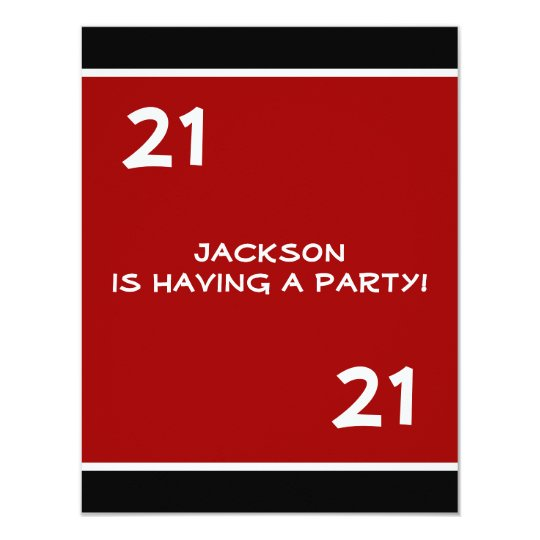 Male 21st Birthday Party Simple Red Invitation