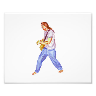 Male acoustic guitar player jeans feet apart photo print