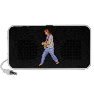 Male acoustic guitar player jeans feet apart mini speakers