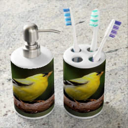 Male American Goldfinch on the Arbutus Soap Dispenser & Toothbrush Holder