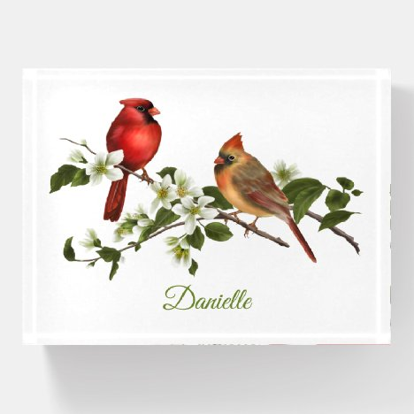 Male and Female Cardinal Dogwood Blossoms Paperweight