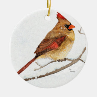 Male and Female cardinal Double-Sided Ceramic Round Christmas Ornament
