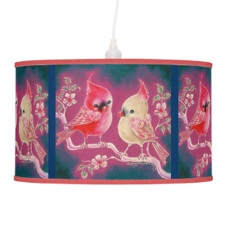 Male and Female Cardinal  Song Bird Hanging Pendant Lamp
