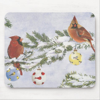 Male and Female Cardinals enjoy a winter sccene. Mouse Pad