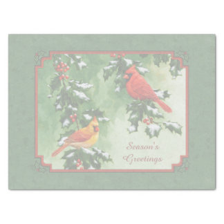 "Male and Female Cardinals Green 15"" X 20"" Tissue Paper"