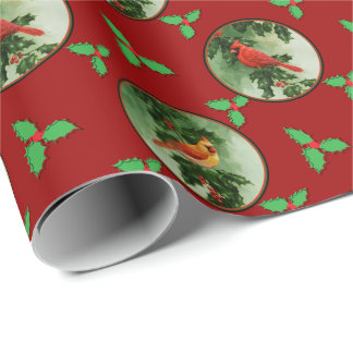 Male and Female Cardinals Red Wrapping Paper