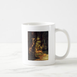 Male and Female Deer in the Woods by Gustave Courb Coffee Mug