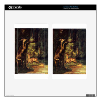 Male and Female Deer in the Woods by Gustave Courb Decal For Kindle Fire