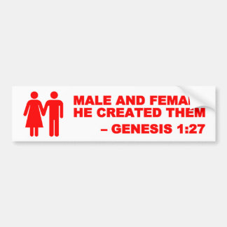 Male and Female Gen. 1:27 Bumper Sticker - Red Car Bumper Sticker