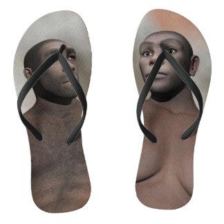 Male and female homo erectus flip flops
