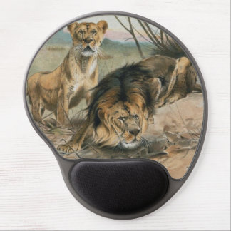Male and Female Lion Gel Mouse Pad