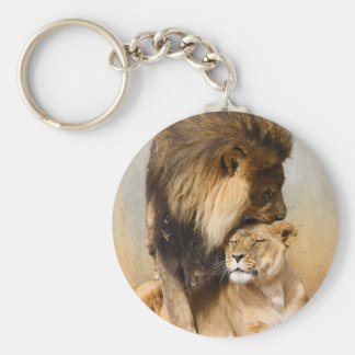 Male and Female Lion in Love Keychain