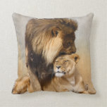 Male and Female Lion in Love Pillow