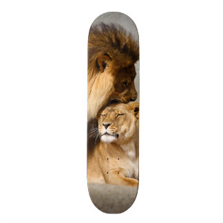 Male and Female Lion in Love Skateboard Deck