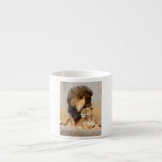 Male and Female Lion in Love Espresso Cups