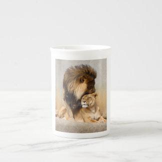 Male and Female Lion in Love Bone China Mug