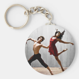 Male and Female Modern Dancers in Red Dress Keychain