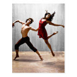 Male and Female Modern Dancers in Red Dress Post Cards