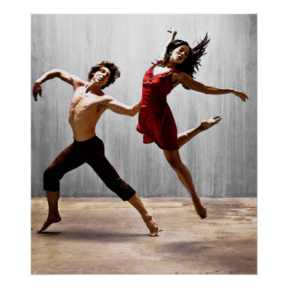 Male and Female Modern Dancers in Red Dress Poster