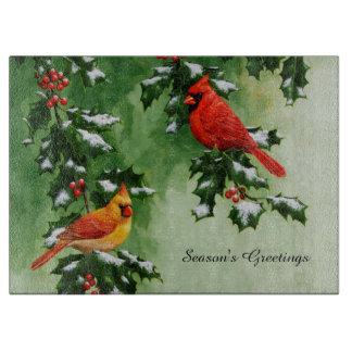 Male and Female Northern Cardinals Cutting Board