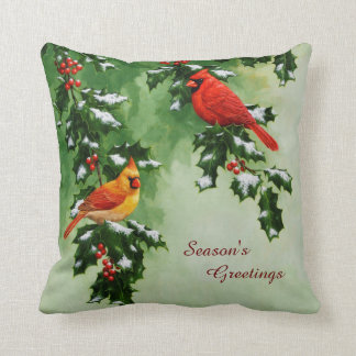 Male and Female Northern Cardinals Pillow