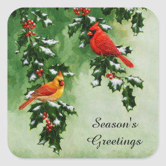 Male and Female Northern Cardinals Square Sticker