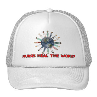 Male and Female Nurses Heal the World Trucker Hat