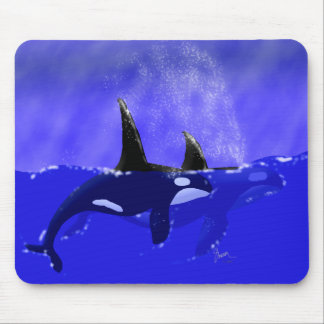 Male and Female Orca in Ocean Mouse Pad