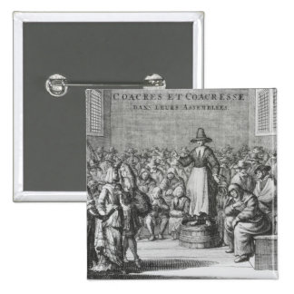 Male and Female Quakers at their Assembly 2 Inch Square Button