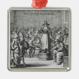 Male and Female Quakers at their Assembly Metal Ornament