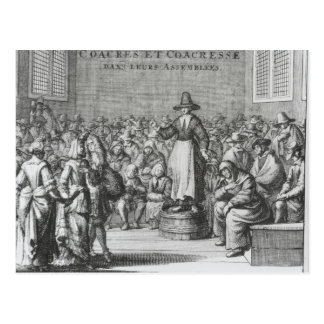 Male and Female Quakers at their Assembly Postcard
