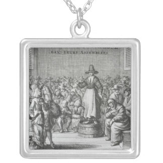 Male and Female Quakers at their Assembly Silver Plated Necklace