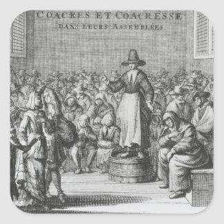 Male and Female Quakers at their Assembly Square Sticker