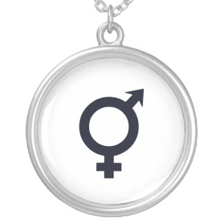 Male and Female Symbol Round Pendant Necklace