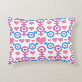 Male and female symbols accent pillow