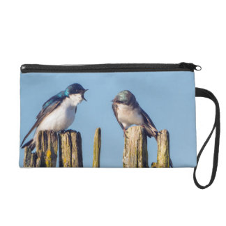 Male and female Tree Swallow Wristlet Purse