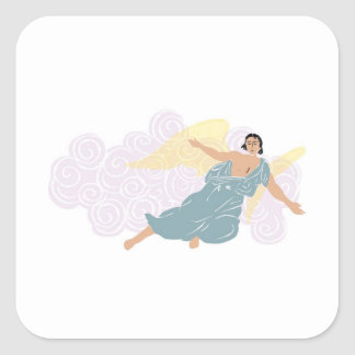 Male Angel in Front of Purple Clouds Square Sticker