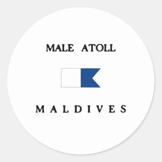Male Atoll Maldives Alpha Dive Flag Classic Round Sticker