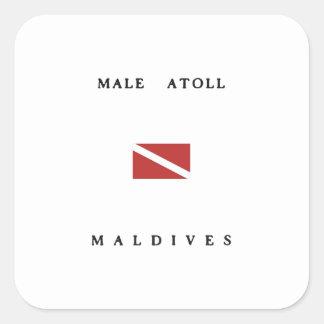 Male Atoll Maldives Scuba Dive Flag Square Sticker