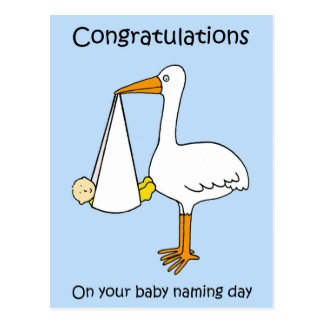 Male baby naming day congratulations. postcard