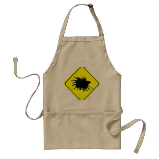 Male Betta Fish Silhouette Caution Crossing Sign Aprons