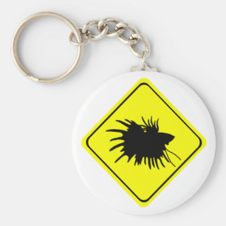 Male Betta Fish Silhouette Caution Crossing Sign Basic Round Button Keychain